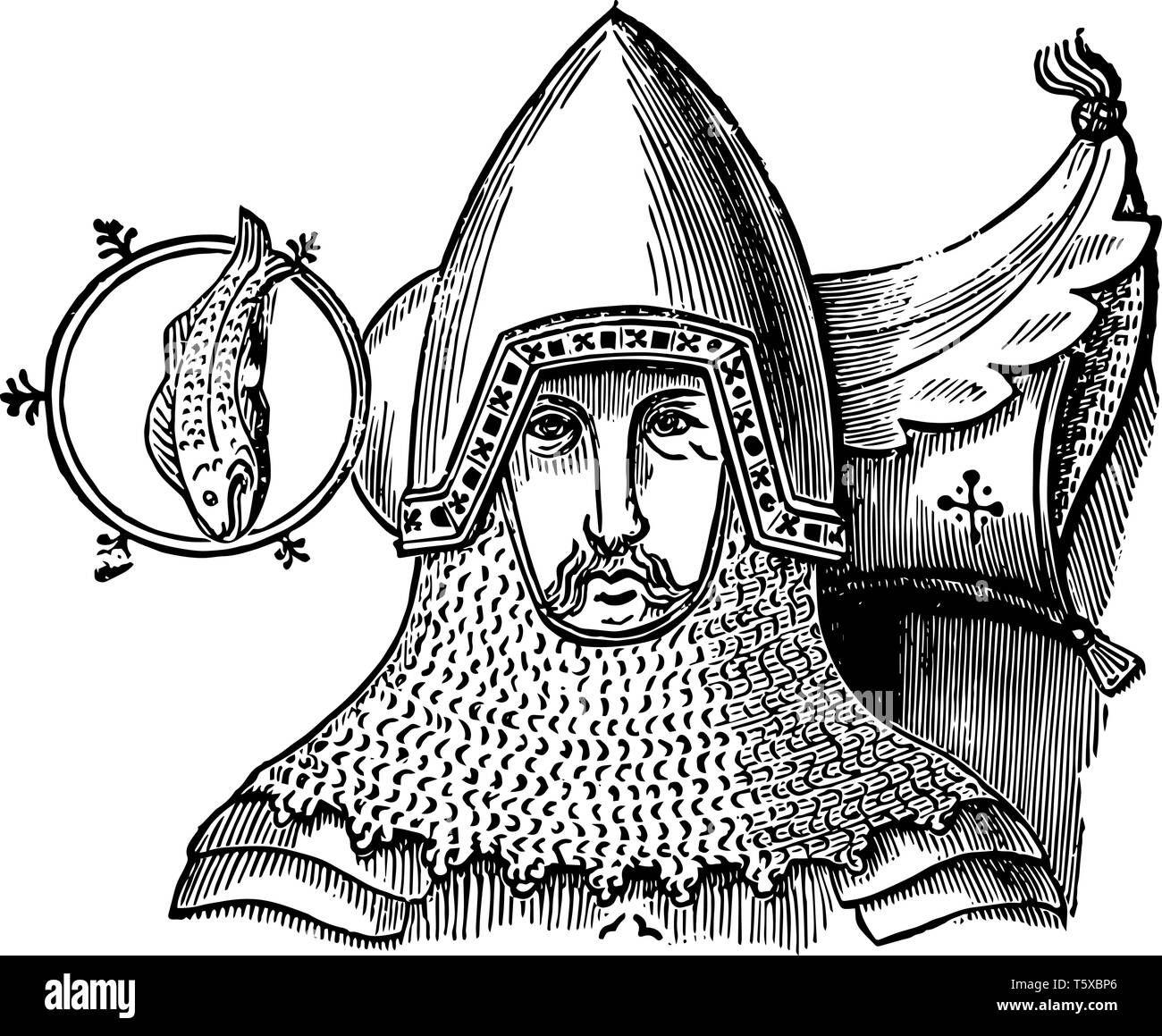 Crested Helm are from Cobham Church vintage line drawing or engraving illustration. - Stock Vector