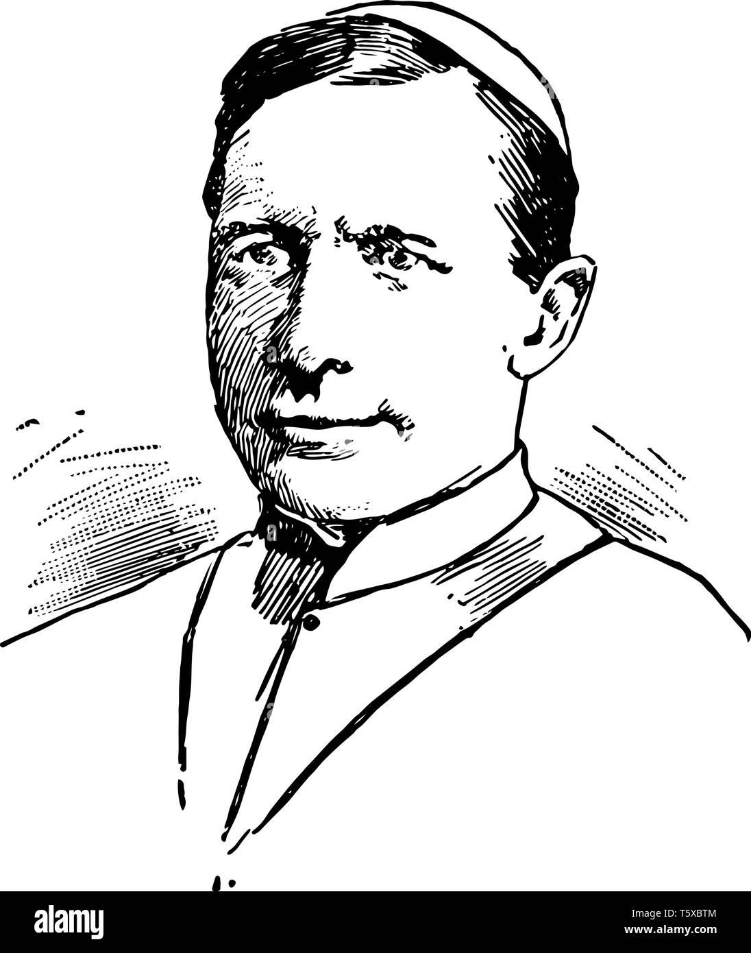 James Cardinal Gibbon 1834 to 1921 he was an American cardinal of the Roman catholic church apostolic vicar of North Carolina bishop of Richmond Virgi - Stock Vector