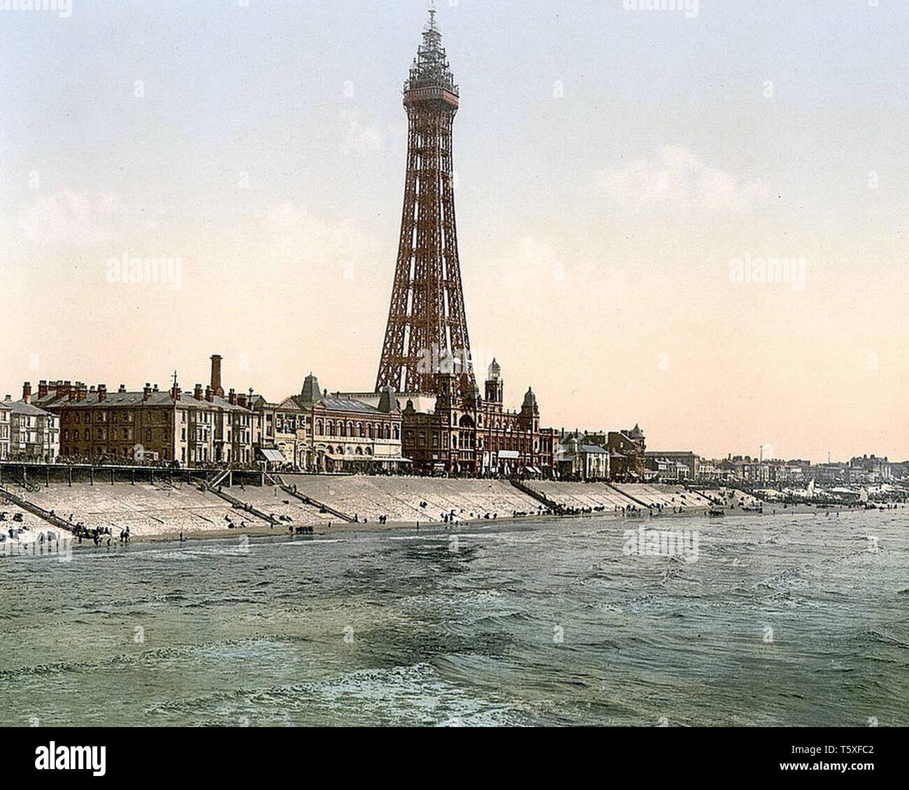 Blackpool Promenade and Tower from North Pier, Blackpool, Lancashire, England. Between 1890 & 1910. Stock Photo