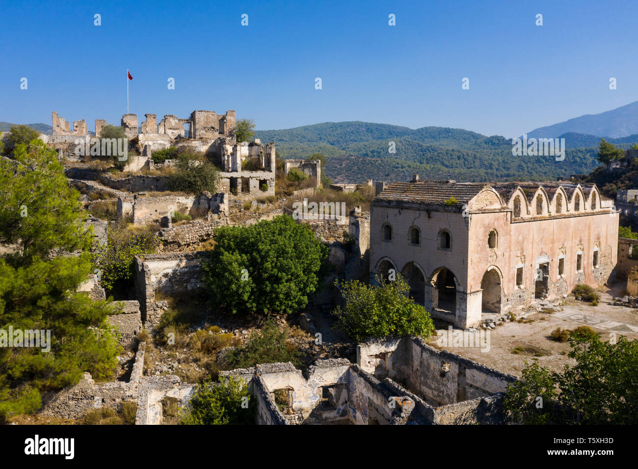 Turkey, Fethiye, Kayakoy (Mugla) Ghost Town, a former greek colony and now an abandoned town and open air museum - Stock Image