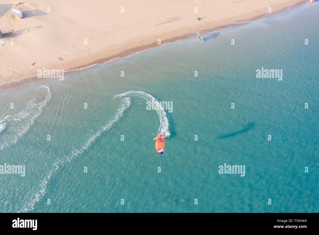 Greece, Rhodes, Prassonissi Pensinsula, a popular place for watersports to due to high wind currents - Stock Image