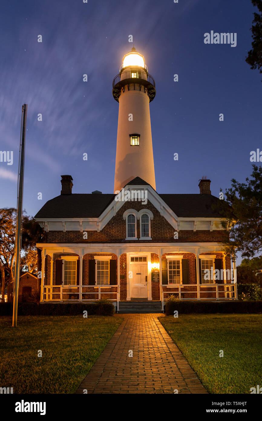 St. Simons Island Lighthouse at Twilight, Georgia - Stock Image