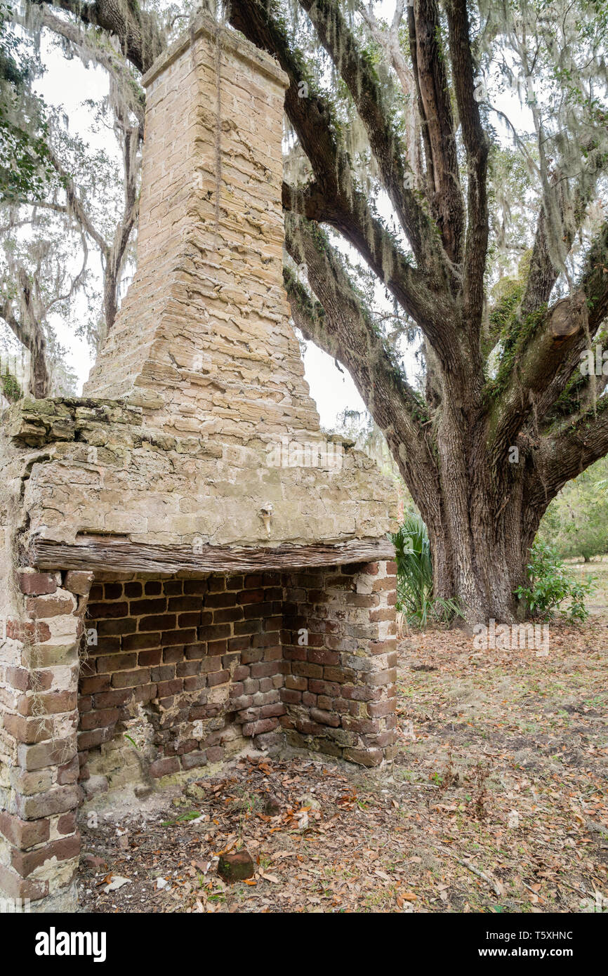 Remnant chimney from a former slave cabin on the Stafford Plantation on Cumberland Island, Georgia - In the early 1800s, Robert Stafford  developed ex - Stock Image