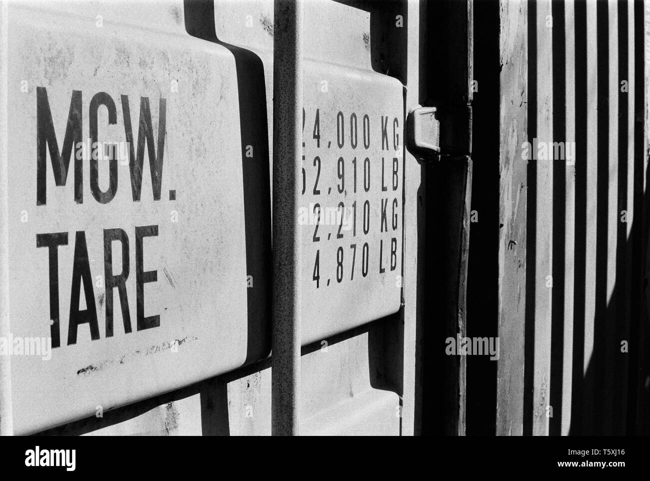 Details on a old shipping container , Winchester, Hampshire, England, United Kingdom. - Stock Image