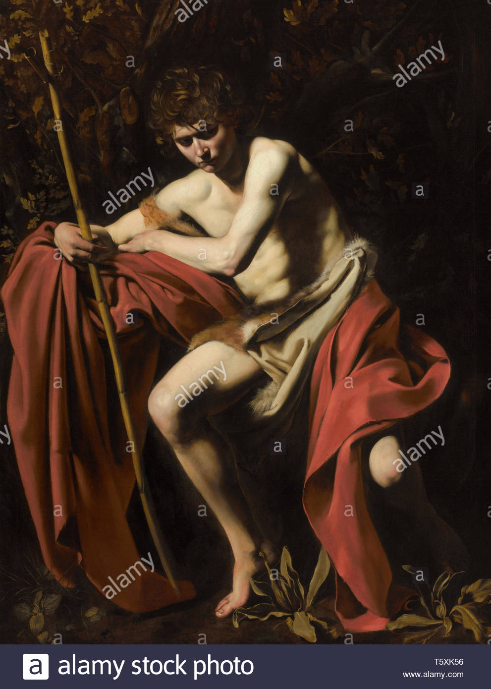 Michelangelo Merisi (Caravaggio)-Saint John the Baptist in the Wilderness, 1604-1605 - Stock Image