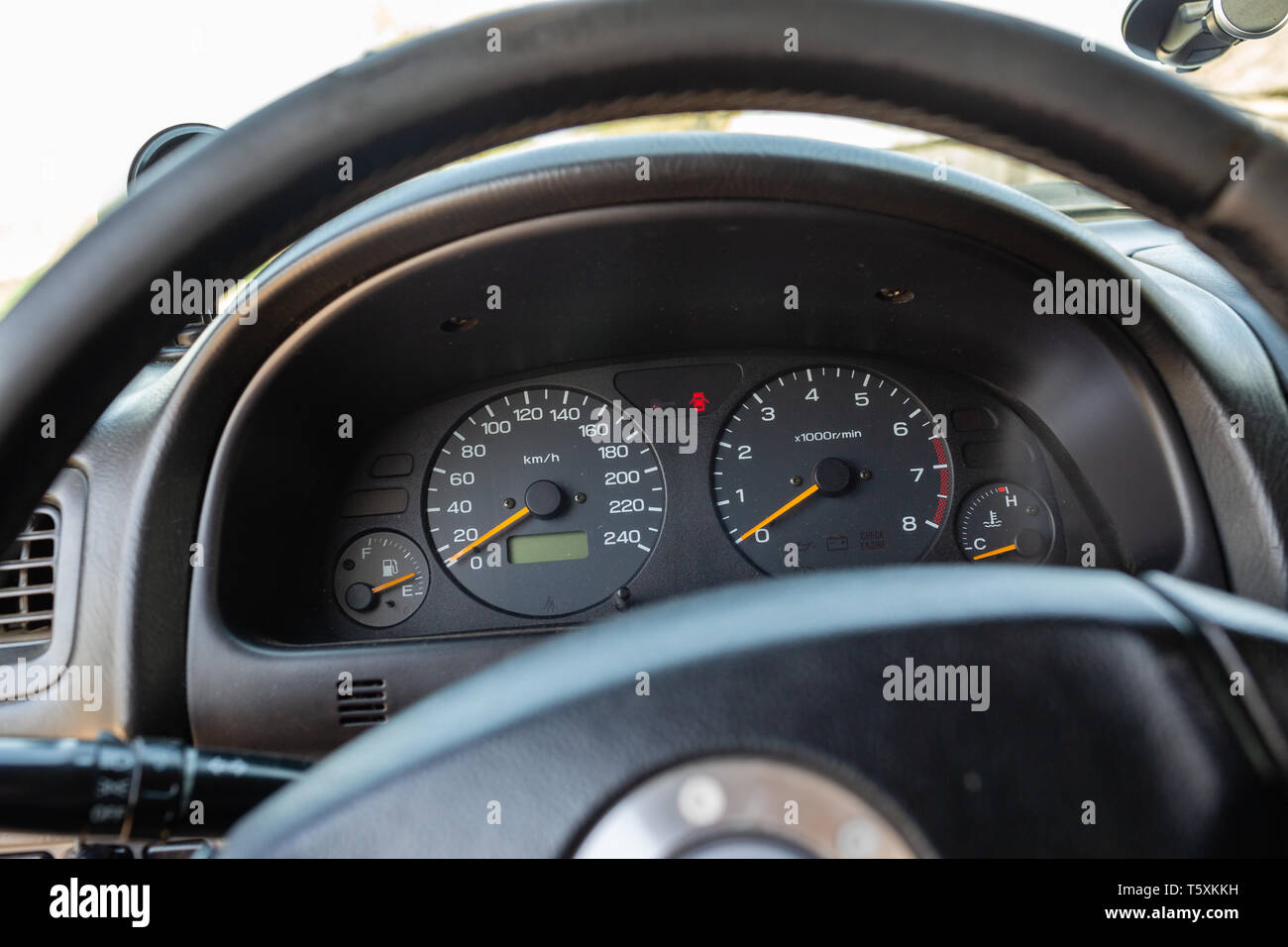 Old Japanese Made Sports Car Dashboard With Speedometer And Other Gauges Stock Photo Alamy