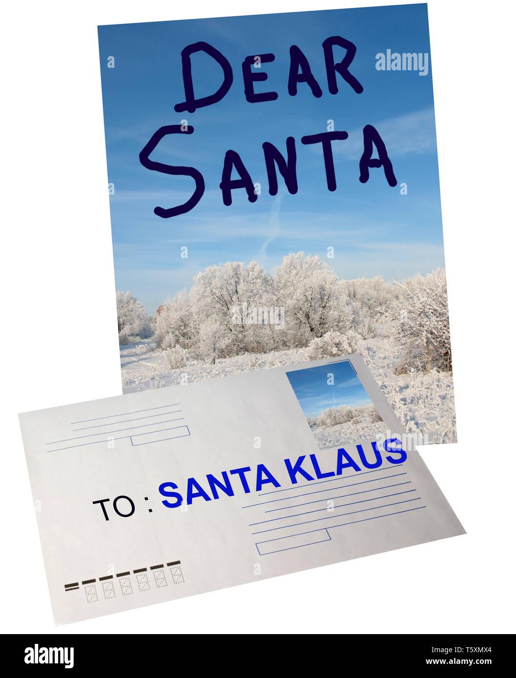Santa Klaus read received letter . Letter for Santa - Stock Image
