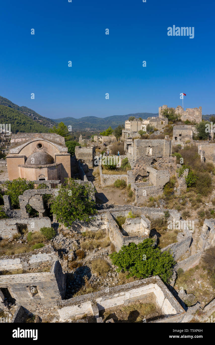 Turkey, Fethiye, Kayakoy (Mugla) Ghost Town, a former greek colony and now an abandoned town and open air museum Stock Photo