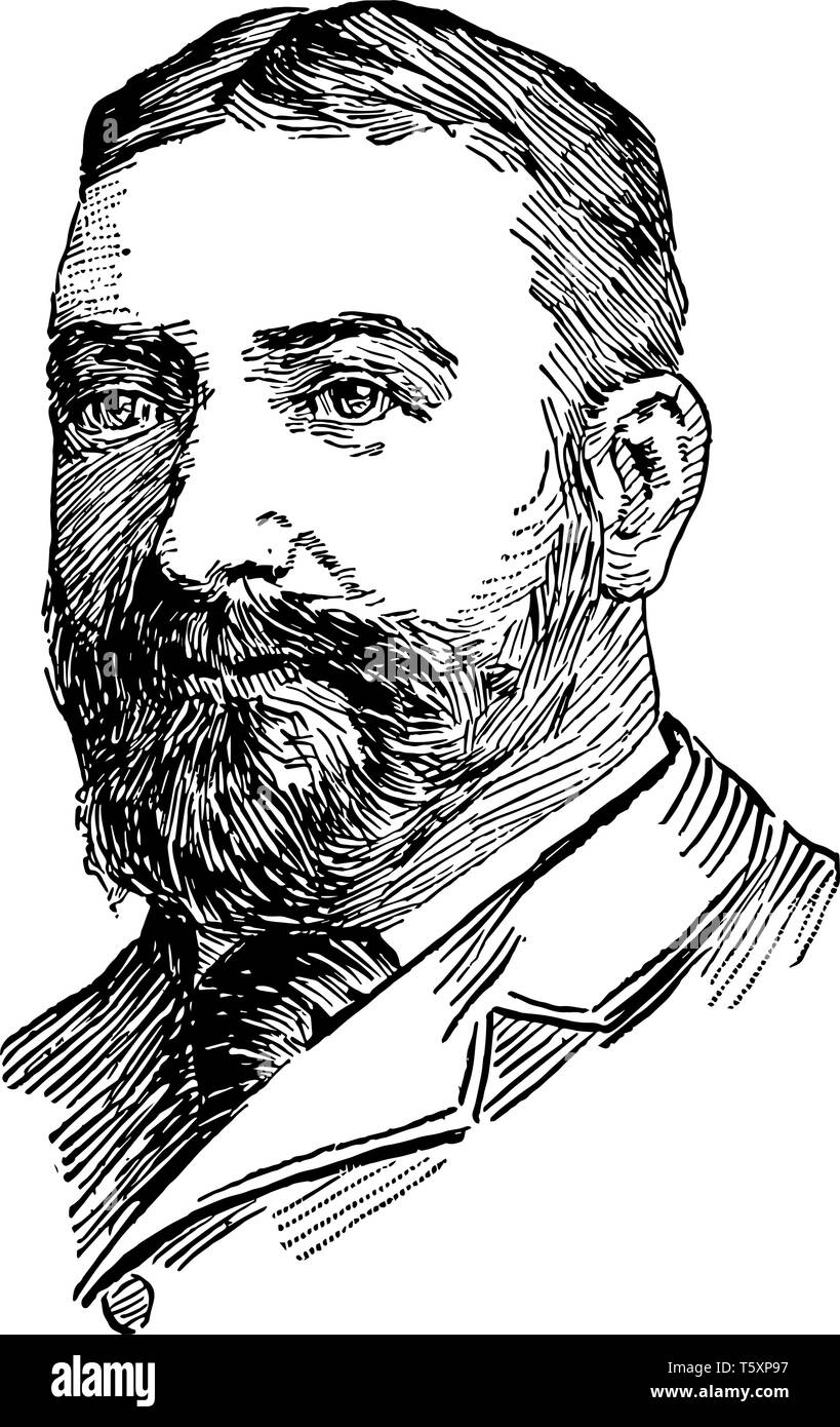 John Bassett Moore 1860 to 1947 he was an authority on international law and the first American judge to serve on the permanent court of International - Stock Vector