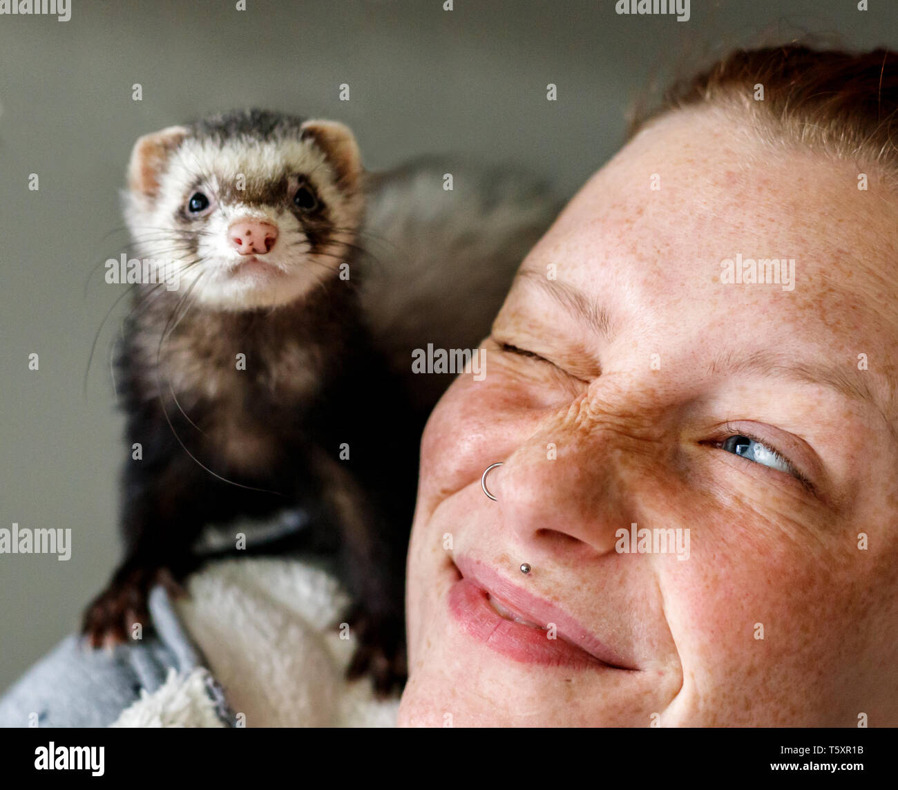 Young attractive red head girl with freckles smiling at little ferret pet on her shoulder Stock Photo