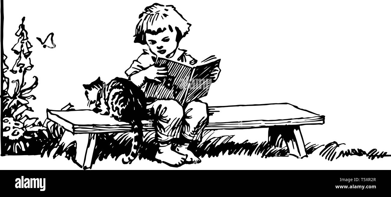 Girl Sitting On Bench Reading Book With Cat Child Female