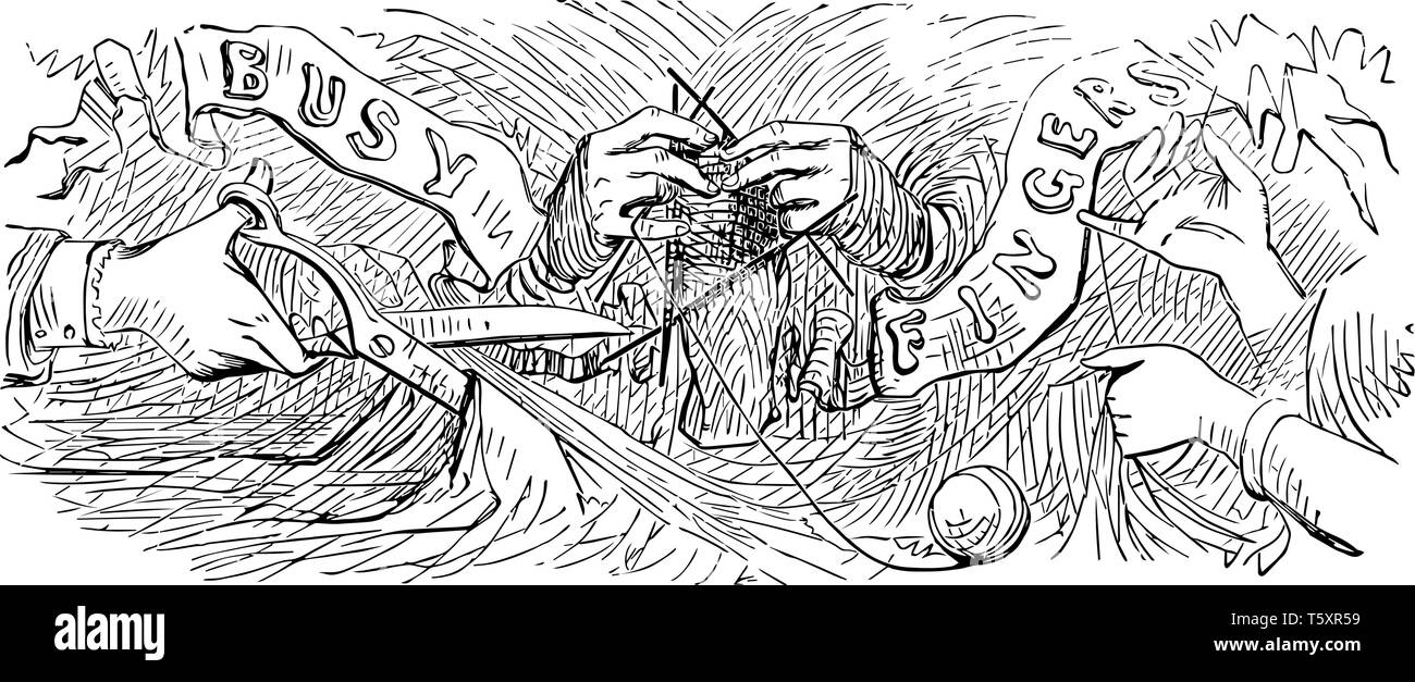 Busy Fingers of three sets of hands performing various crafting tasks, The children are really enjoying Busy Fingers, vintage line drawing or engravin - Stock Vector