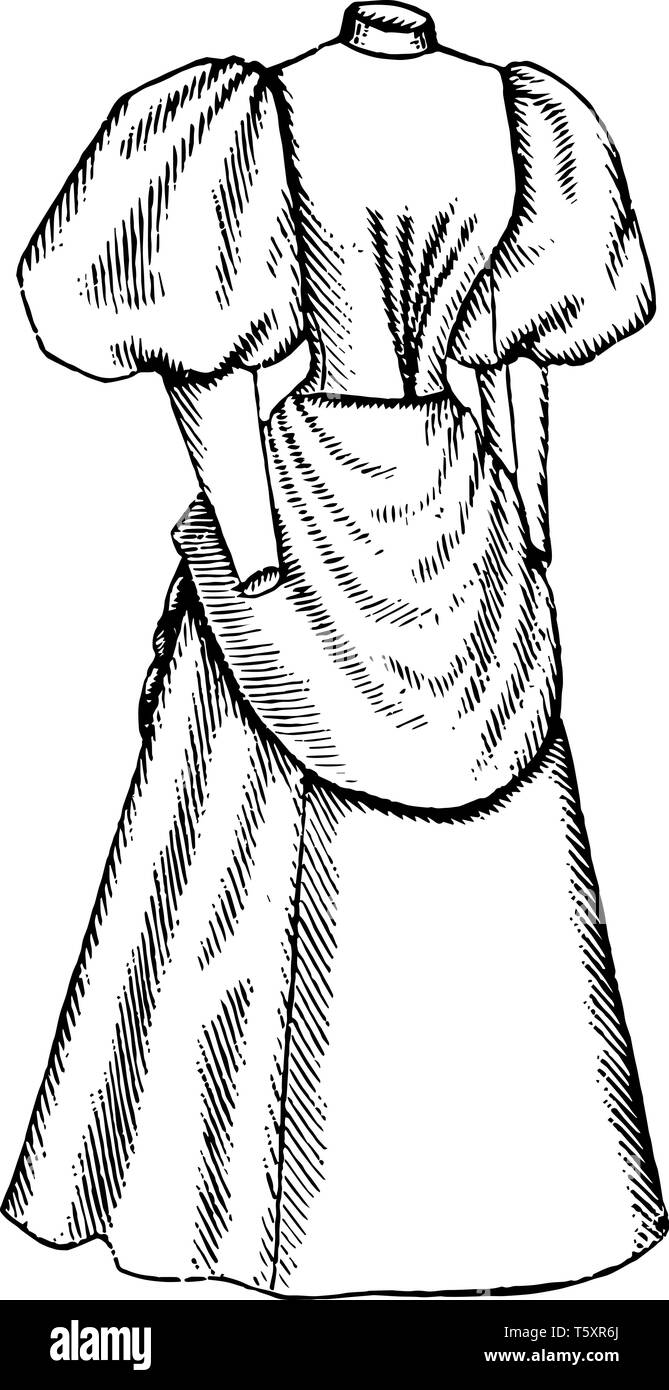 Late 19th Century Dress is an apron like drape over the front, vintage line drawing or engraving illustration. - Stock Image