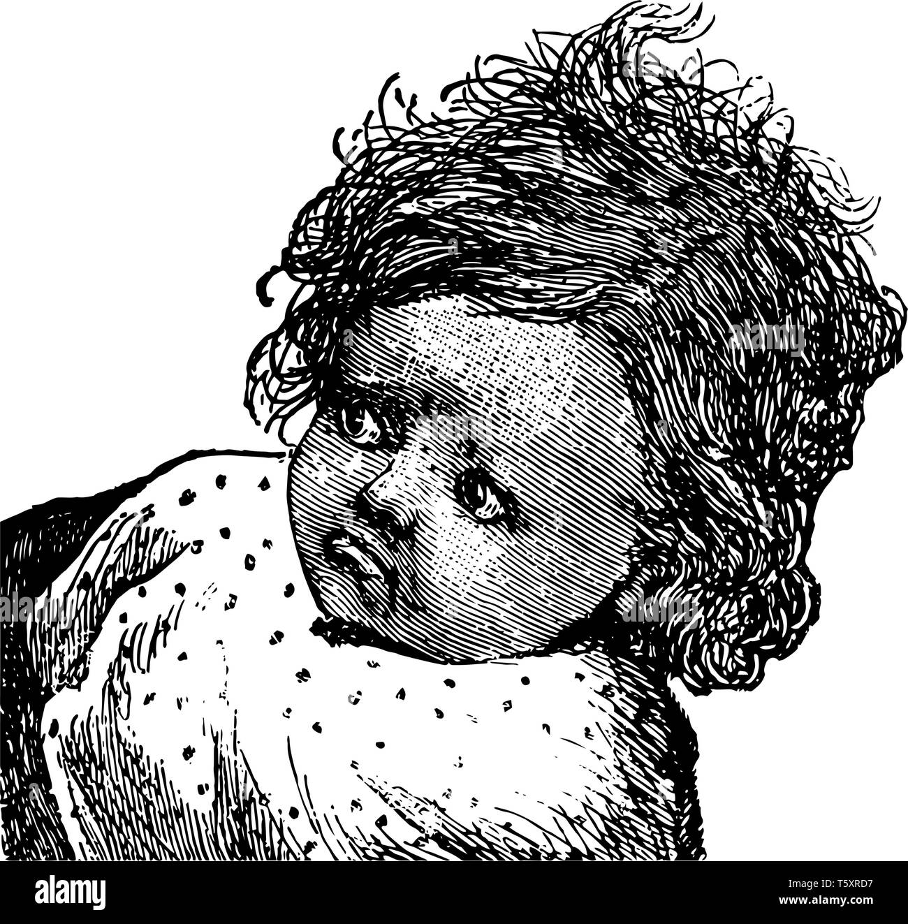 baby Girl's Face in this picture, vintage line drawing or engraving illustration. - Stock Vector