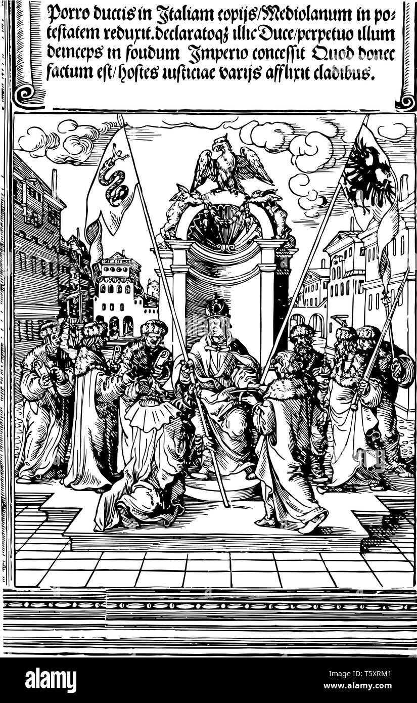 The Investiture of the Duke of Milan is created by carving an image on a wooden block and rolling ink over that surface, vintage line drawing or engra - Stock Vector