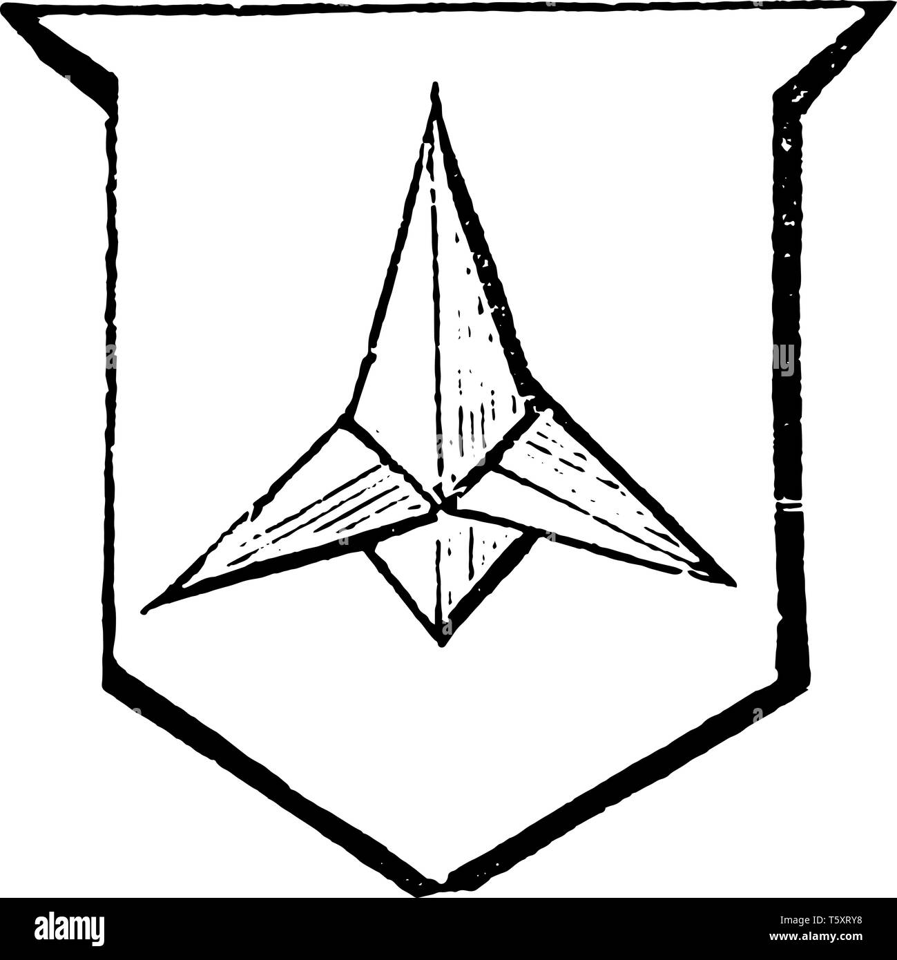 Caltrop is an iron instrument made to annoy an enemy's cavalry, vintage line drawing or engraving illustration. - Stock Vector