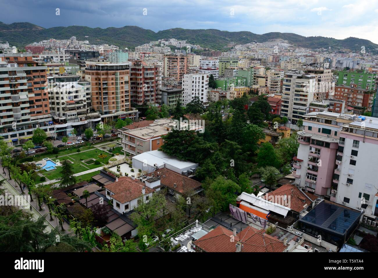 View over Tirana Albanias Capital City Albania - Stock Image