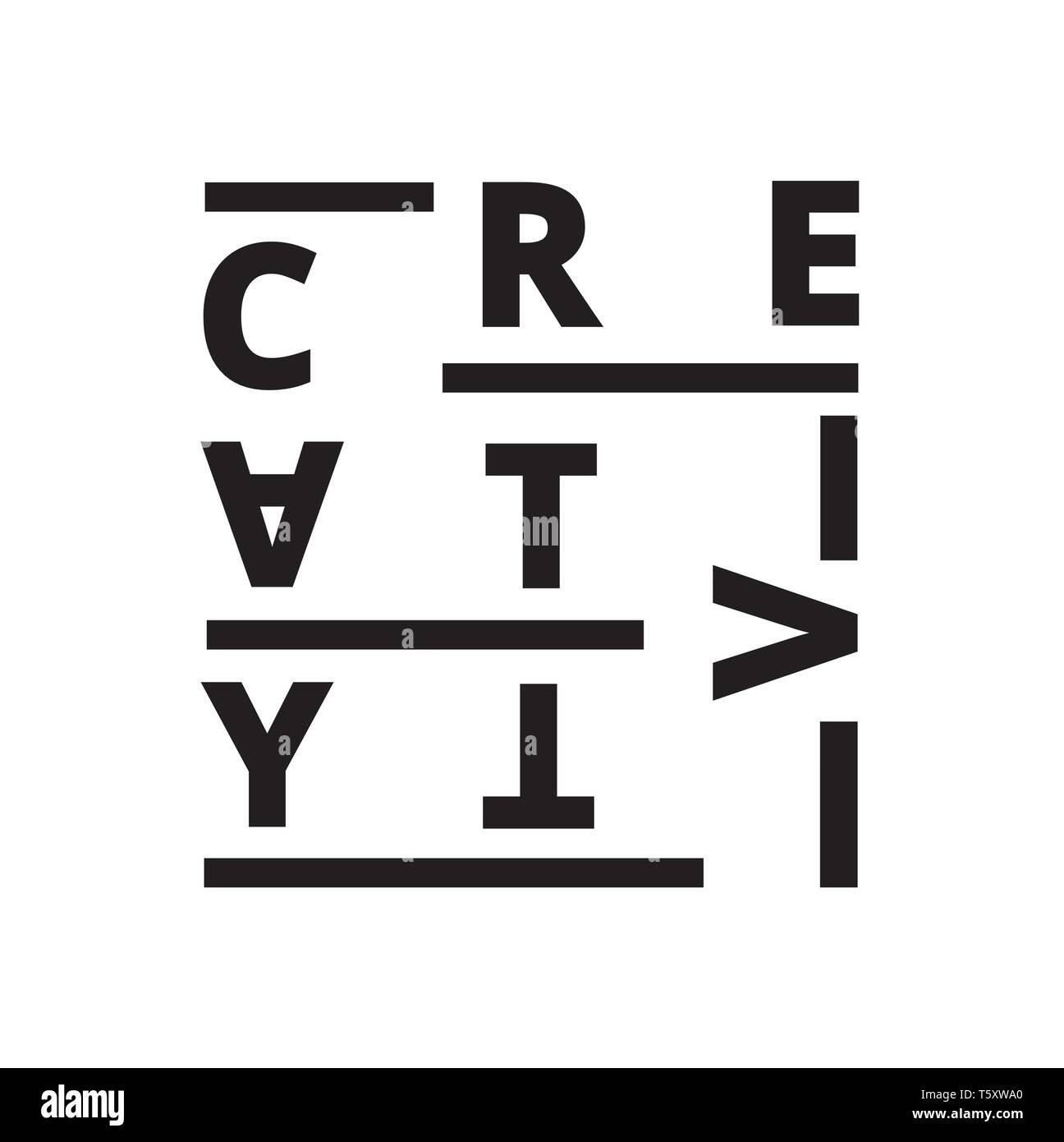 Vector creative illustration of creativity font composition. - Stock Image