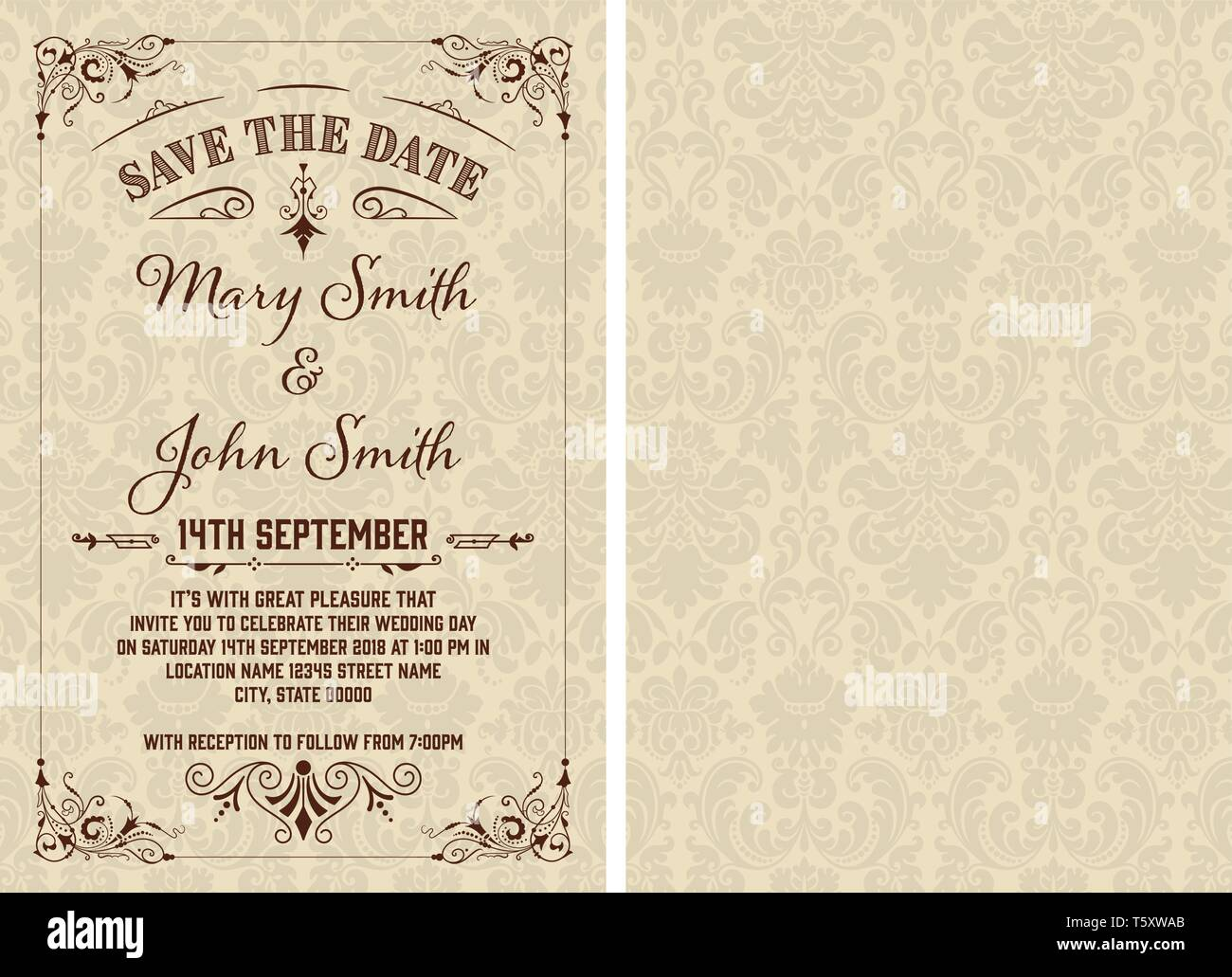 Vintage Save The Date Template Vector Layered Stock Art