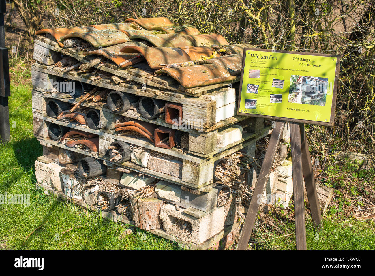 Recycling materials on display at Wicken Fen visitor centre, Cambridgeshire, England, UK. - Stock Image
