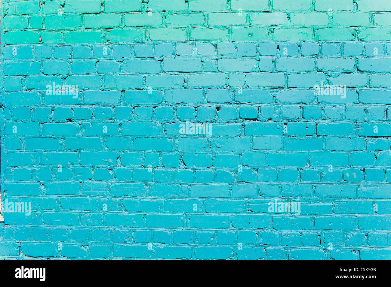 Turquoise brick wall for background or texture. Stock Photo
