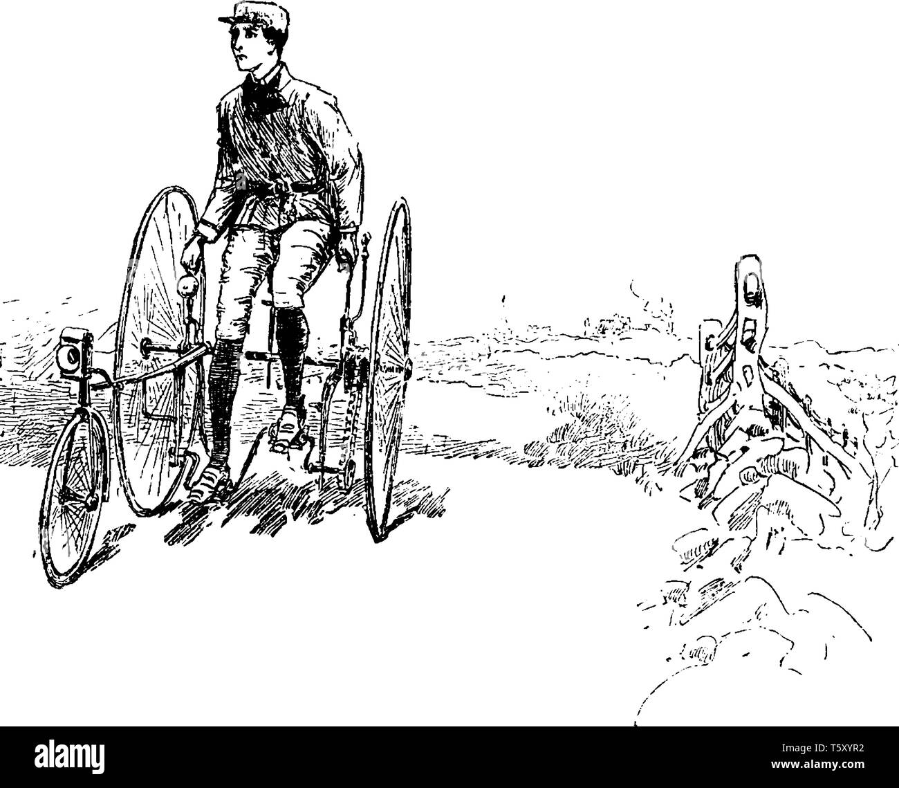 Man On A Tricycle Where A Man Riding A Tricycle And Looking Over Her Shoulder Vintage Line Drawing Or Engraving Illustration Stock Vector Image Art Alamy
