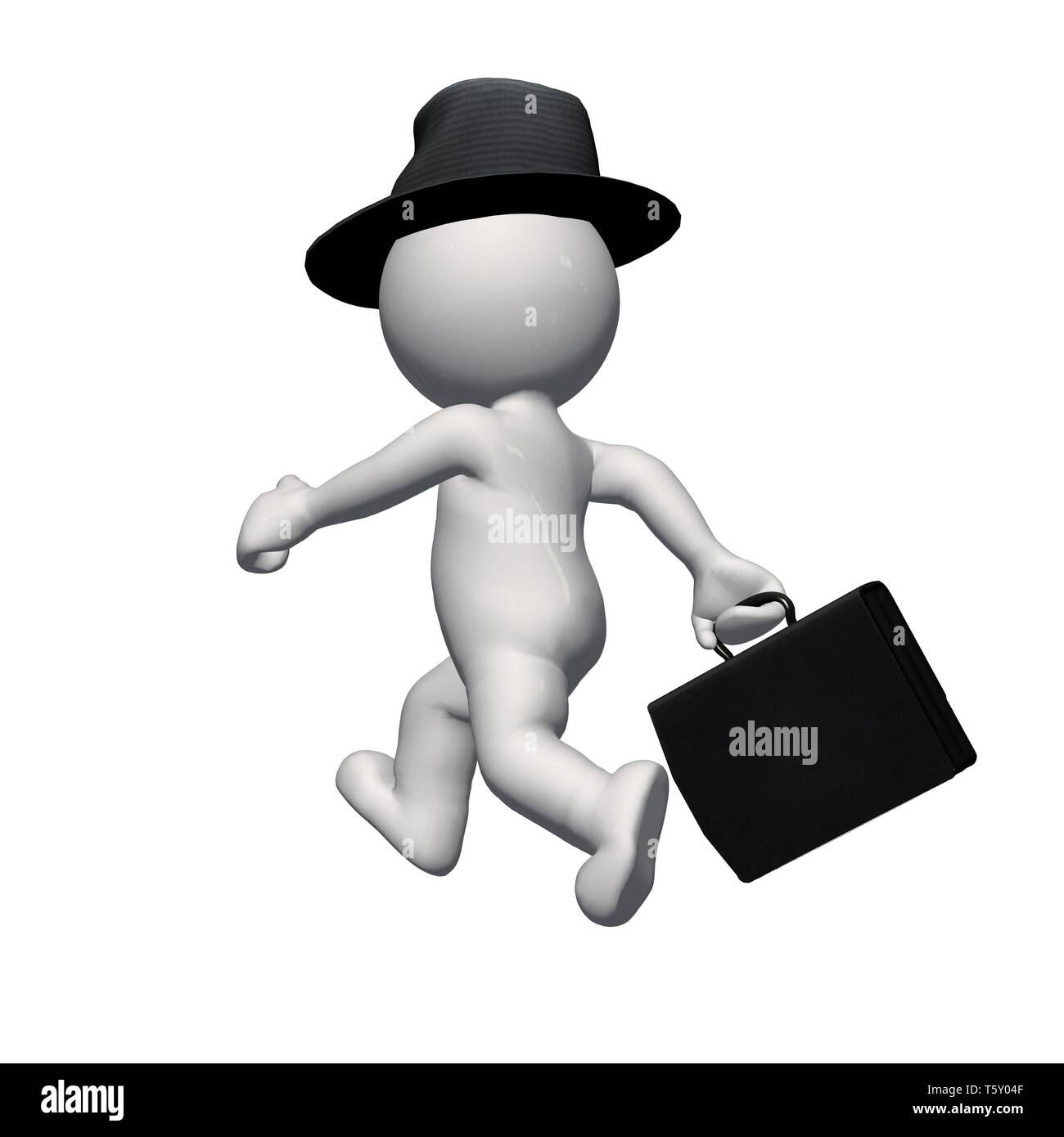 3D  People - business man with hat and briefcase - isolated on white background - Stock Image
