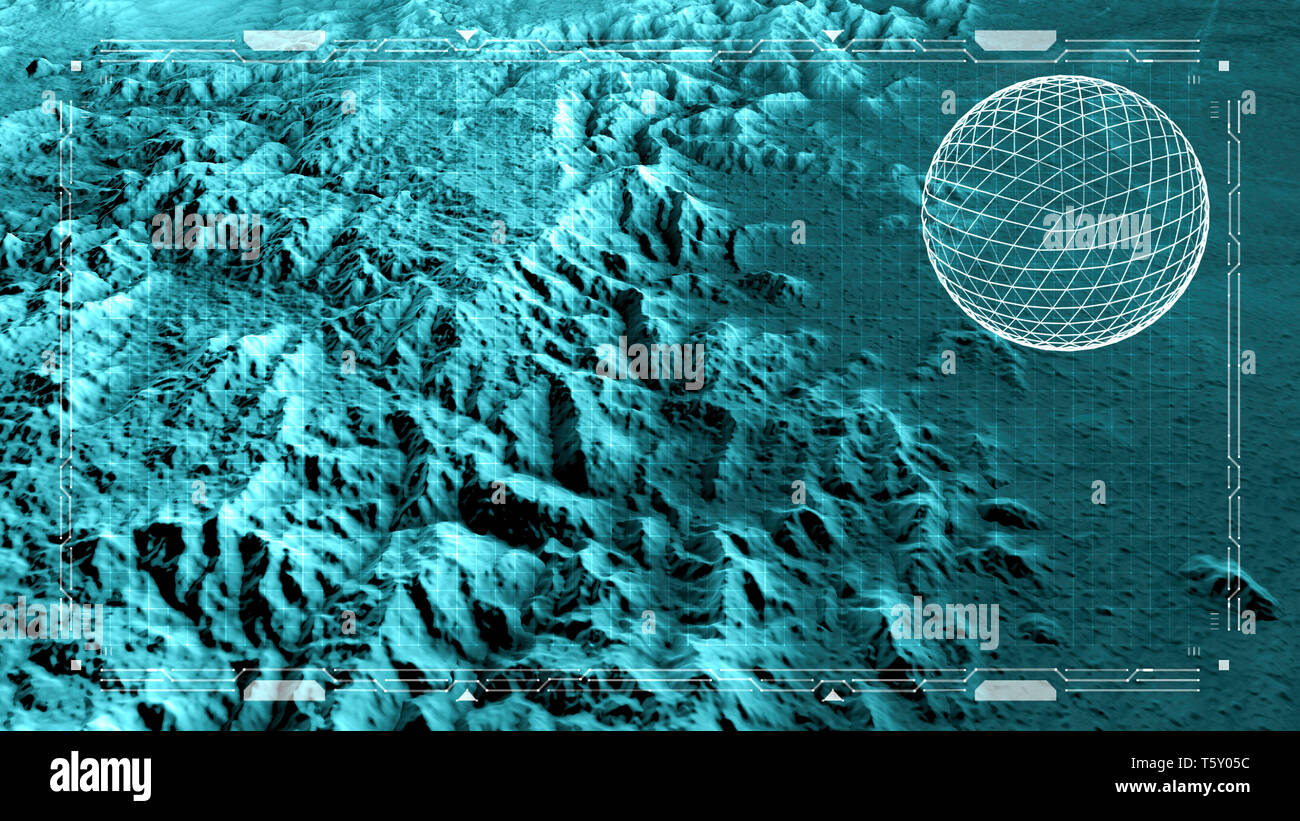 Satellite view of land, war operations, sci-fi, night vision with blue hues. Military target. Drone flying over an area. Hud, head-up display Stock Photo
