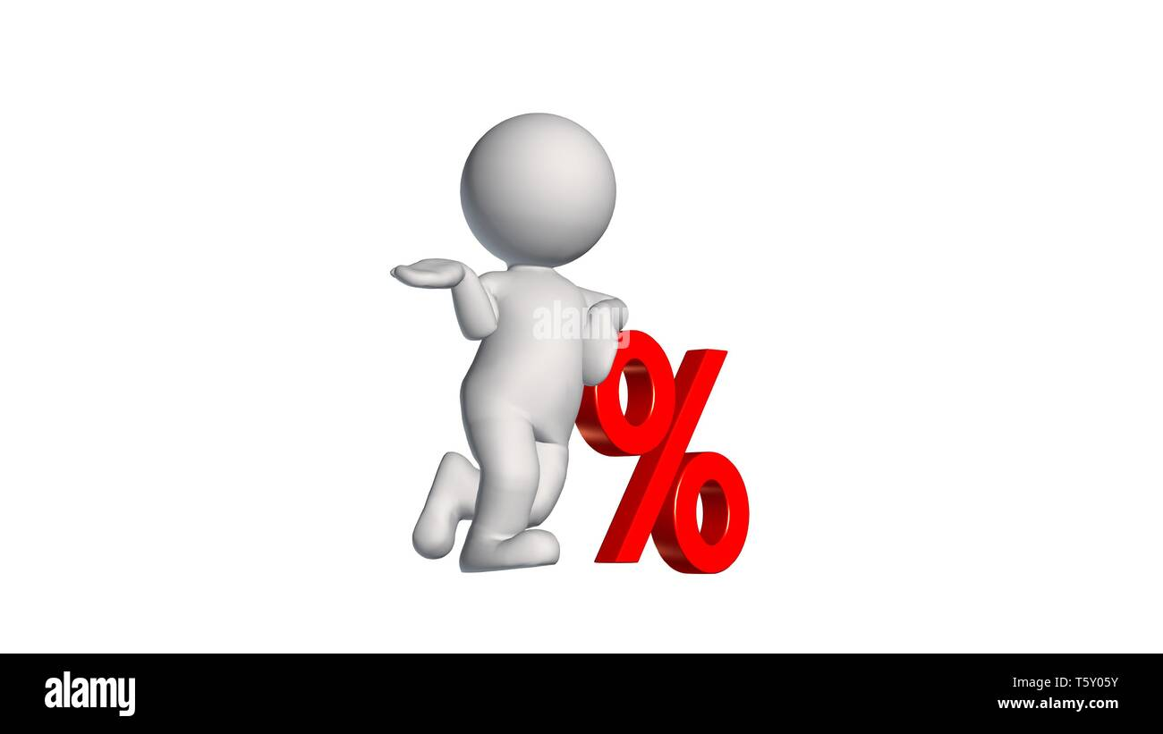 3D People with percent sign - isolated on white background - Stock Image