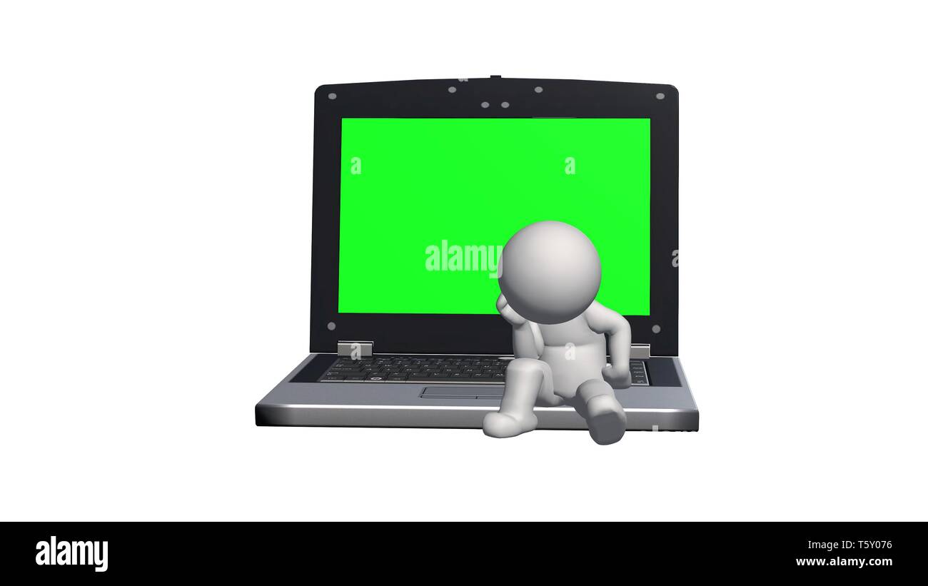 3D People sitting on the notebook with green screen and think - isolated on white background - 3D rendering - Stock Image