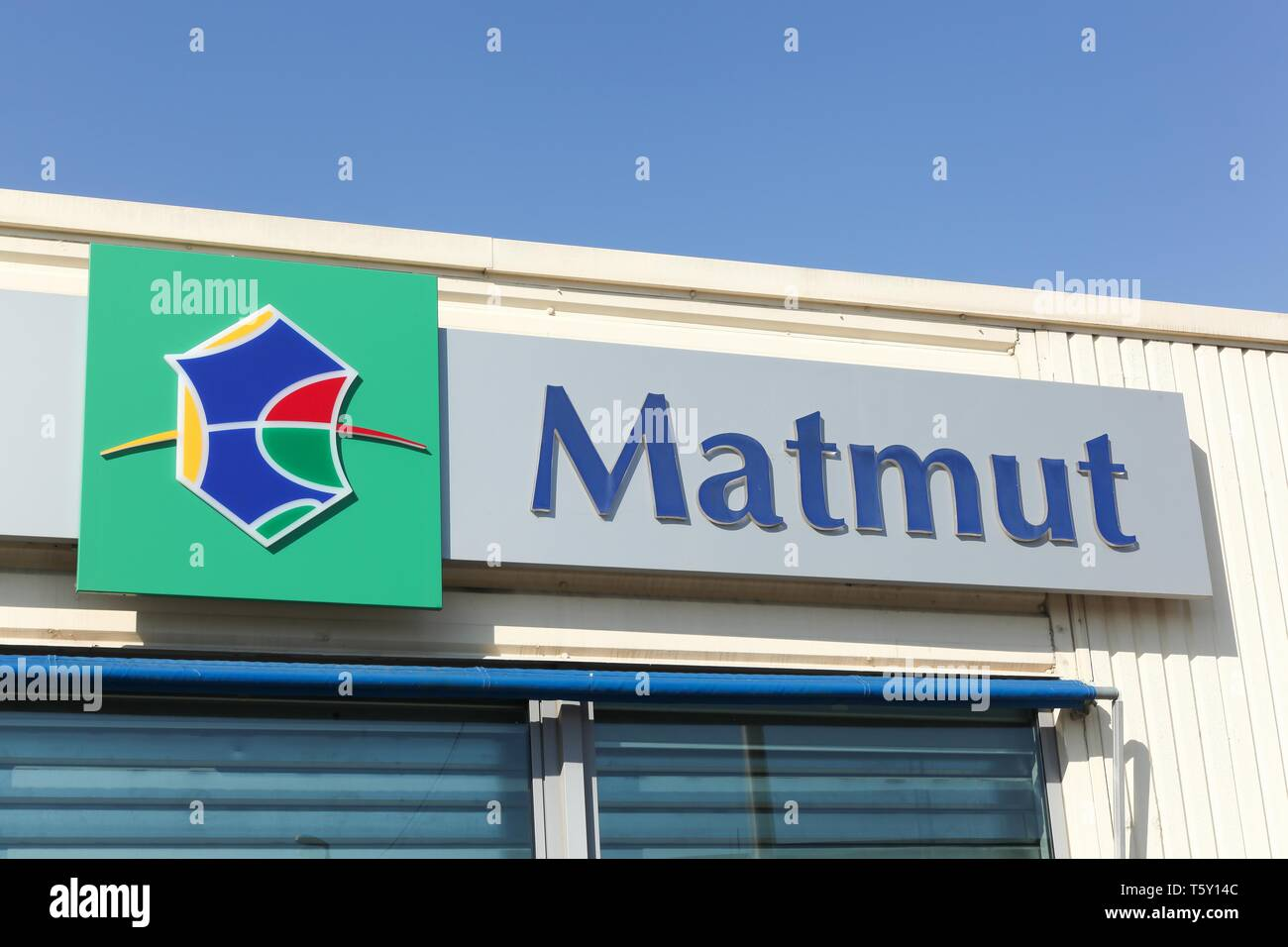 Arles, France - July 4, 2018: Matmut logo on a wall. Matmut group accompanies its policyholders throughout life - Stock Image