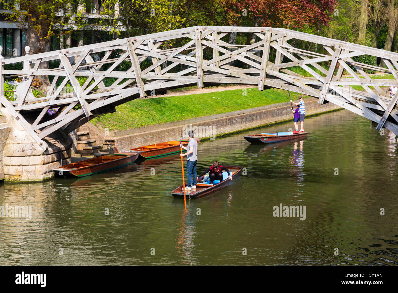 Punters punting under the Mathematical Bridge over the River Cam, University town of Cambridge, Cambridgeshire, England - Stock Image