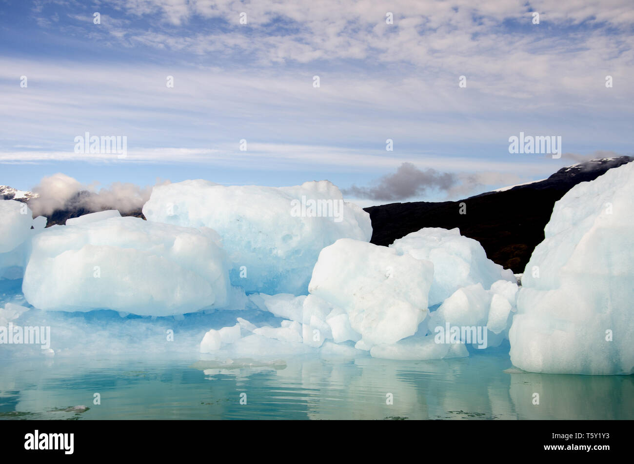 Blocks of ice, bergy bits and brash ice, in Chile's Falcon fjord. A glacier lies beyond them. - Stock Image
