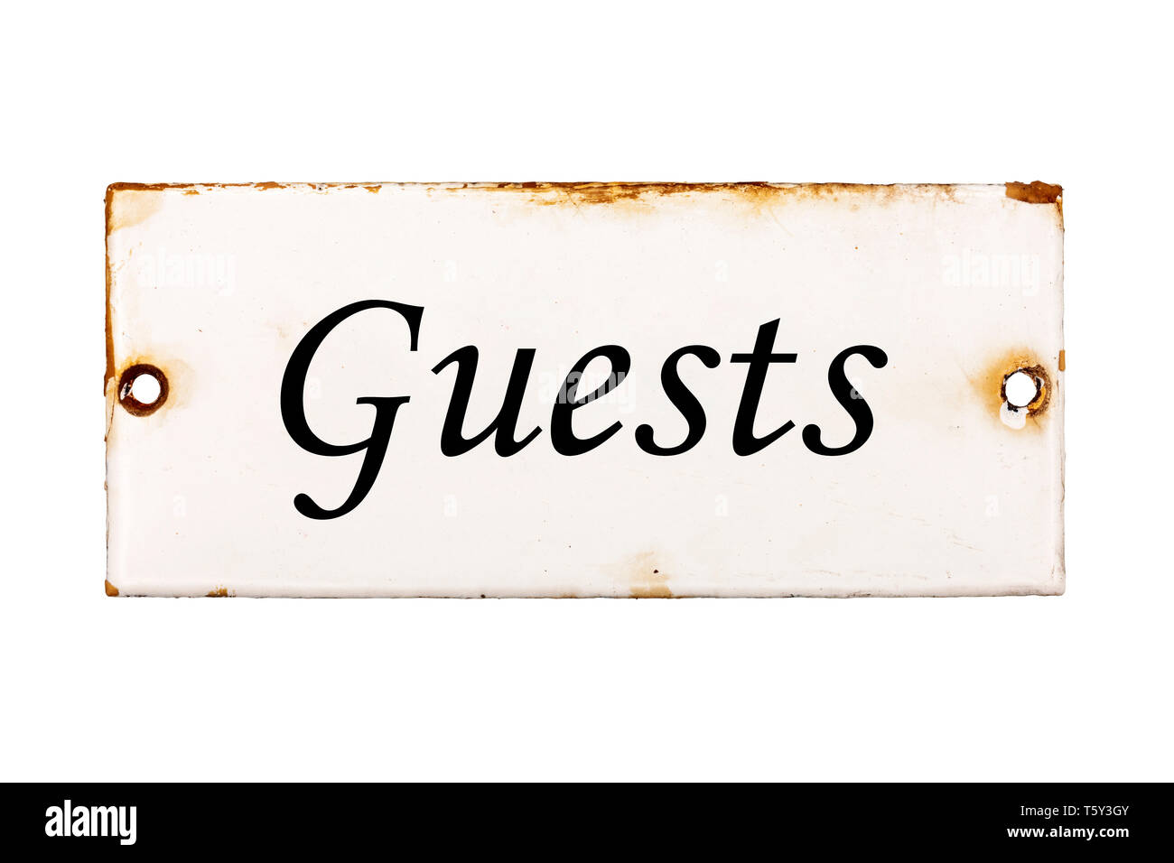 Guests, old and rusty enameled door plate, isolated on white background - Stock Image