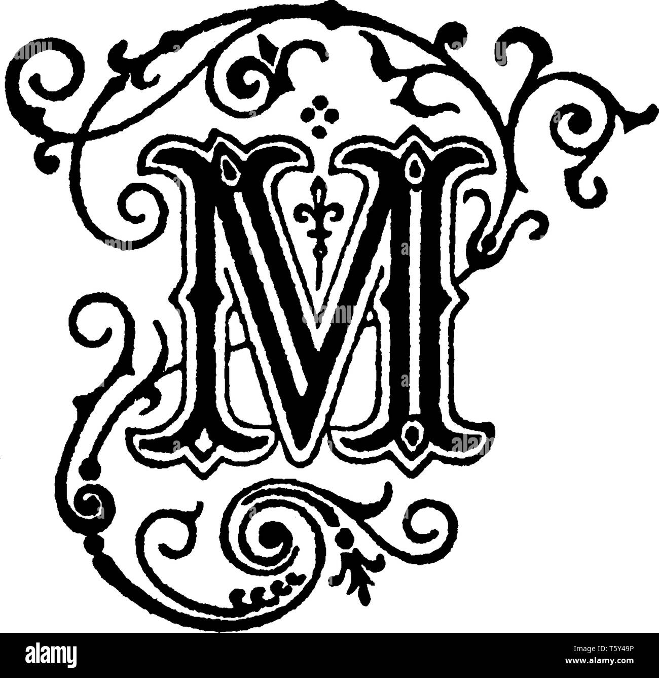 80a4917ccb A decorative capital letter M, vintage line drawing or engraving  illustration - Stock Image