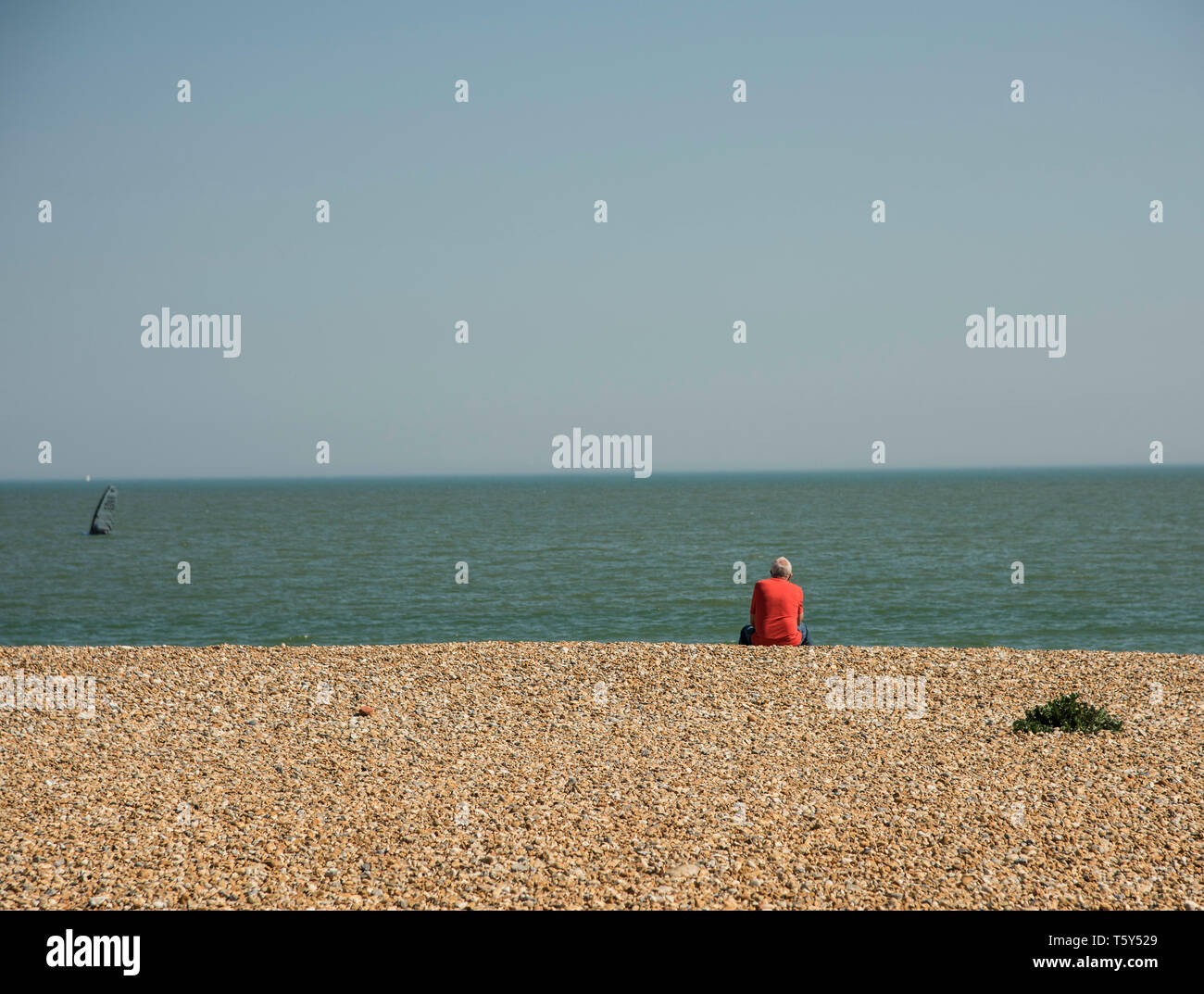 Single male wearing a red shirt sitting on the pebble beach in Eastbourne looking out to sea  England UK - Stock Image