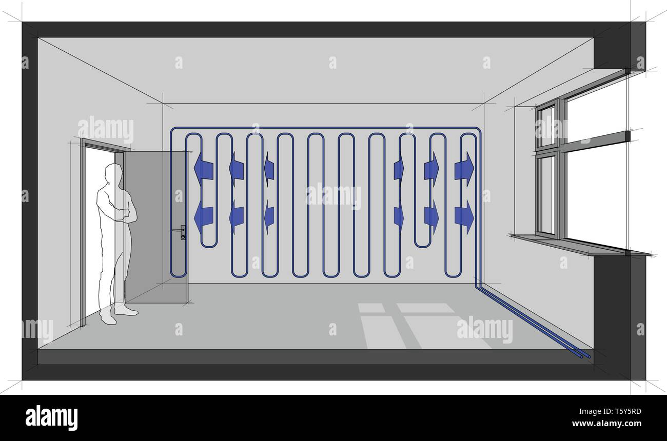 Diagram of a room cooled with wall cooling - Stock Vector