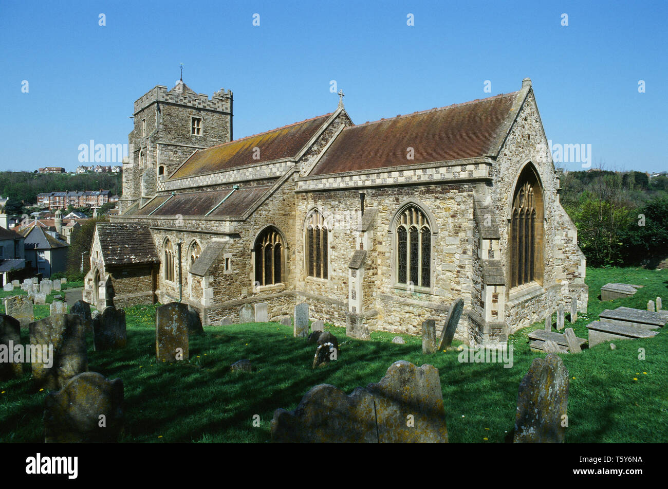 The historic 15th century church of All Saints in Hastings Old Town, East Sussex, UK - Stock Image