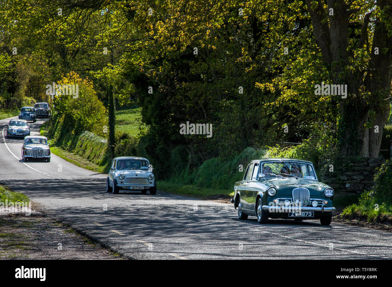 Crosshaven, Cork, Ireland. 27th April, 2019. George Vickery driving his 1950's Singer Gazelle leads the way  as part of the Crosshaven Veteran,Vintage and Classic Motor Club's  run  to Glengarriff from Crosshaven, Co. Cork, Ireland. Credit: David Creedon/Alamy Live News - Stock Image