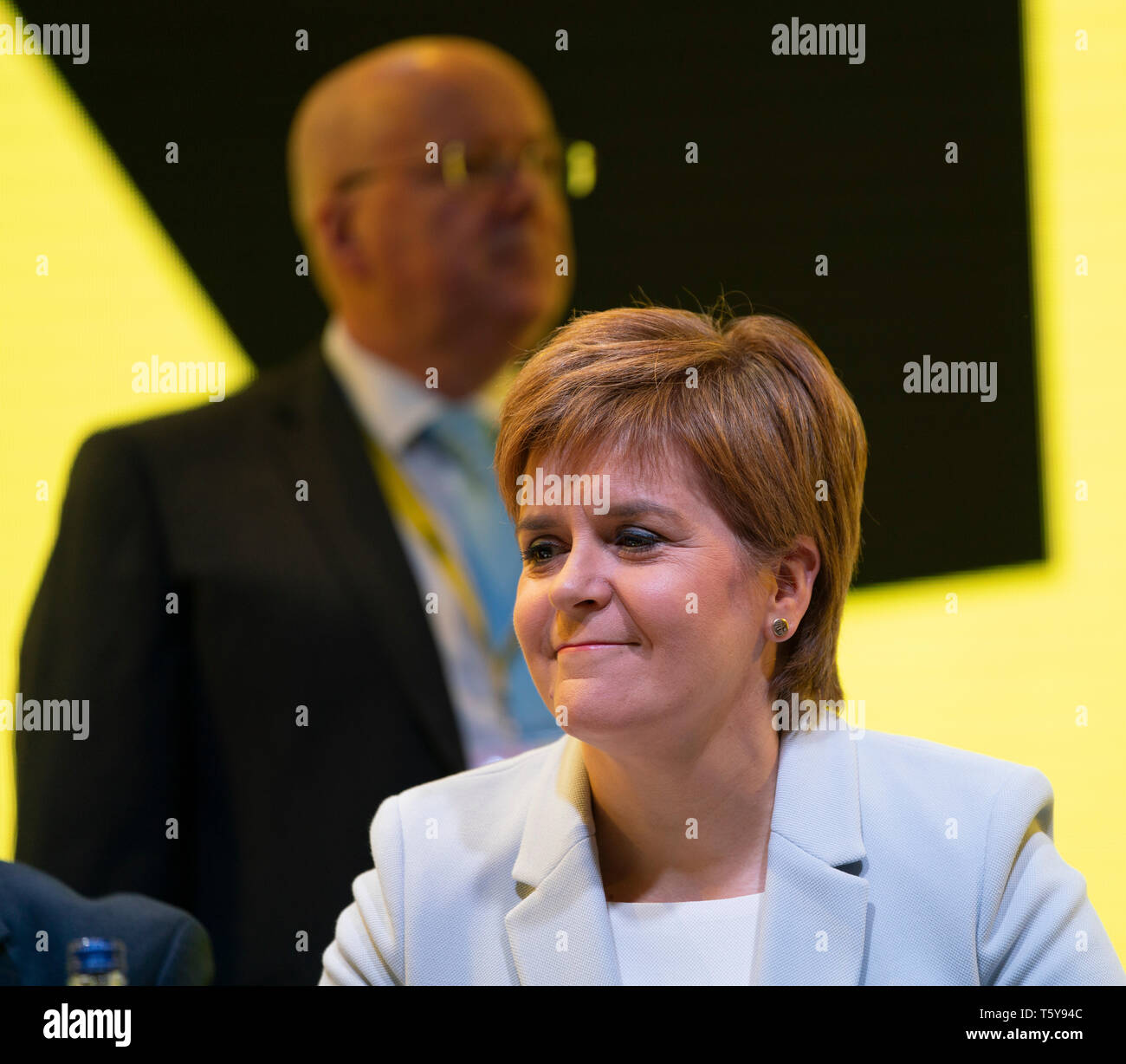 Edinburgh, Scotland, UK. 27 April, 2019. SNP ( Scottish National Party) Spring Conference takes place at the EICC ( Edinburgh International Conference Centre) in Edinburgh. Pictured; First Minister Nicola Sturgeon and her husband SNP CEO Peter Murrell Credit: Iain Masterton/Alamy Live News - Stock Image
