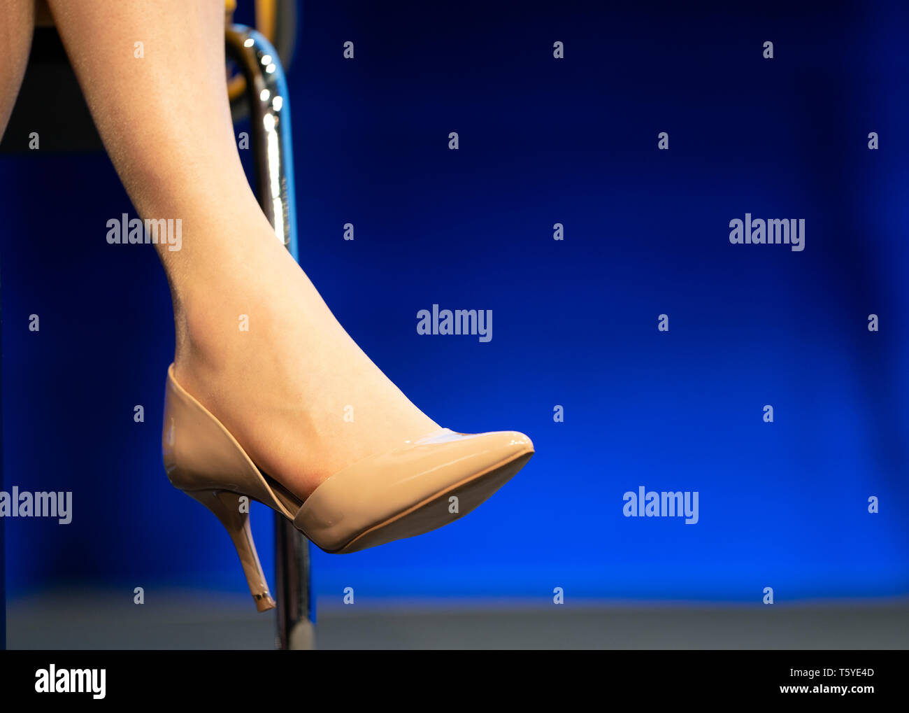 Edinburgh, Scotland, UK. 27 April, 2019. SNP ( Scottish National Party) Spring Conference takes place at the EICC ( Edinburgh International Conference Centre) in Edinburgh. Pictured; detail of First Minister Nicola Sturgeon's high heeled shoe Credit: Iain Masterton/Alamy Live News - Stock Image