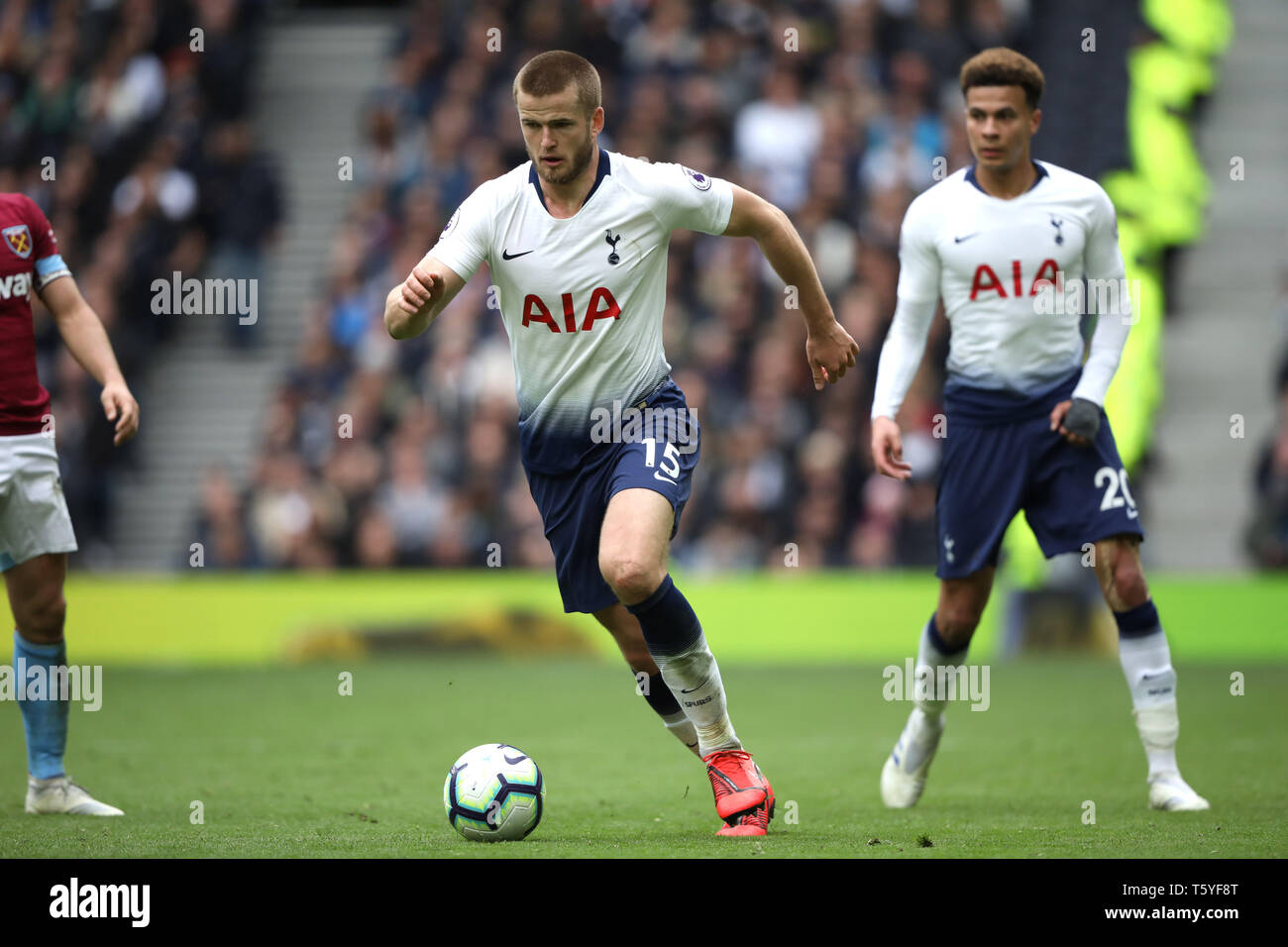 London, UK. 27th Apr 2019. Eric Dier (TH) at the Tottenham Hotspur v West Ham United English Premier League match, at The Tottenham Hotspur Stadium, London, UK on April 27, 2019. **Editorial use only, license required for commercial use. No use in betting, games or a single club/league/player publications** Credit: Paul Marriott/Alamy Live News - Stock Image