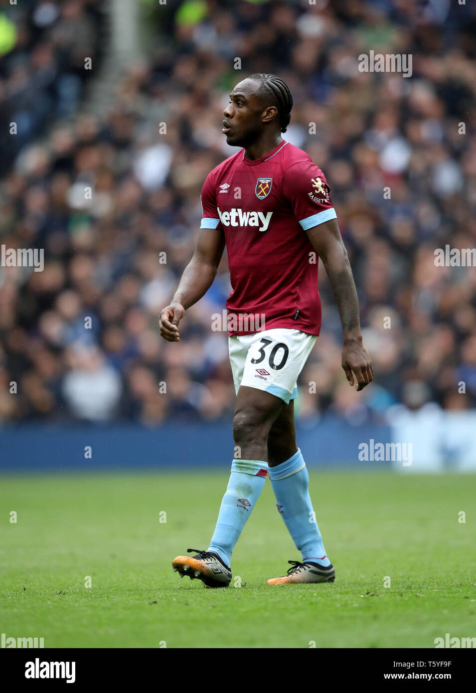 London, UK. 27th Apr 2019. Michail Antonio (WHU) at the Tottenham Hotspur v West Ham United English Premier League match, at The Tottenham Hotspur Stadium, London, UK on April 27, 2019. **Editorial use only, license required for commercial use. No use in betting, games or a single club/league/player publications** Credit: Paul Marriott/Alamy Live News - Stock Image