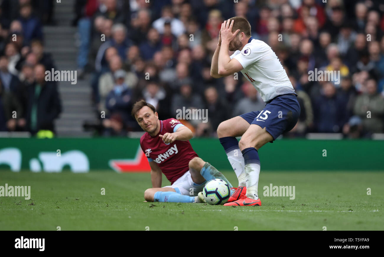 London, UK. 27th Apr 2019. Mark Noble (WHU) Eric Dier (TH) at the Tottenham Hotspur v West Ham United English Premier League match, at The Tottenham Hotspur Stadium, London, UK on April 27, 2019. **Editorial use only, license required for commercial use. No use in betting, games or a single club/league/player publications** Credit: Paul Marriott/Alamy Live News - Stock Image
