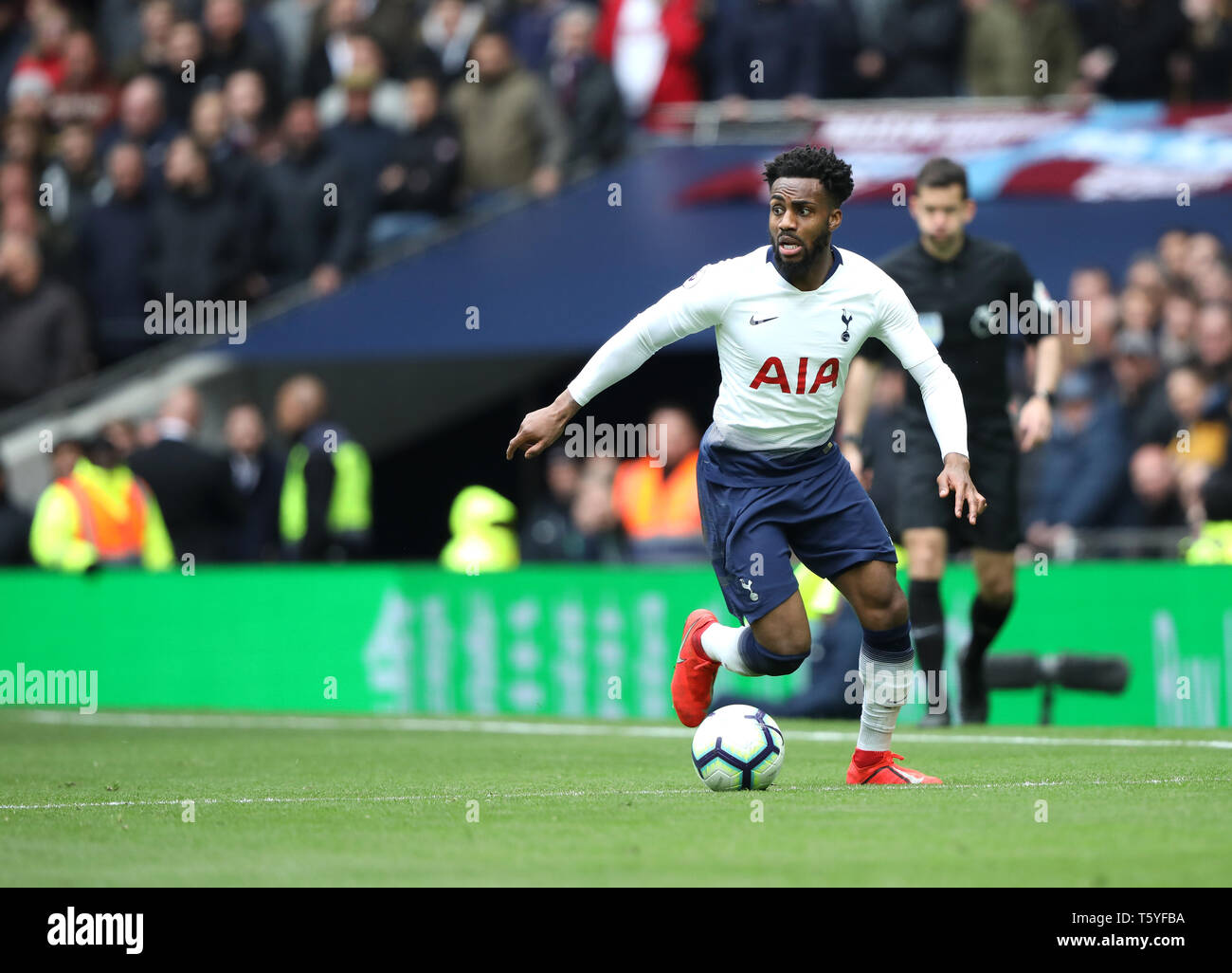 London, UK. 27th Apr 2019. Danny Rose (TH) at the Tottenham Hotspur v West Ham United English Premier League match, at The Tottenham Hotspur Stadium, London, UK on April 27, 2019. **Editorial use only, license required for commercial use. No use in betting, games or a single club/league/player publications** Credit: Paul Marriott/Alamy Live News - Stock Image