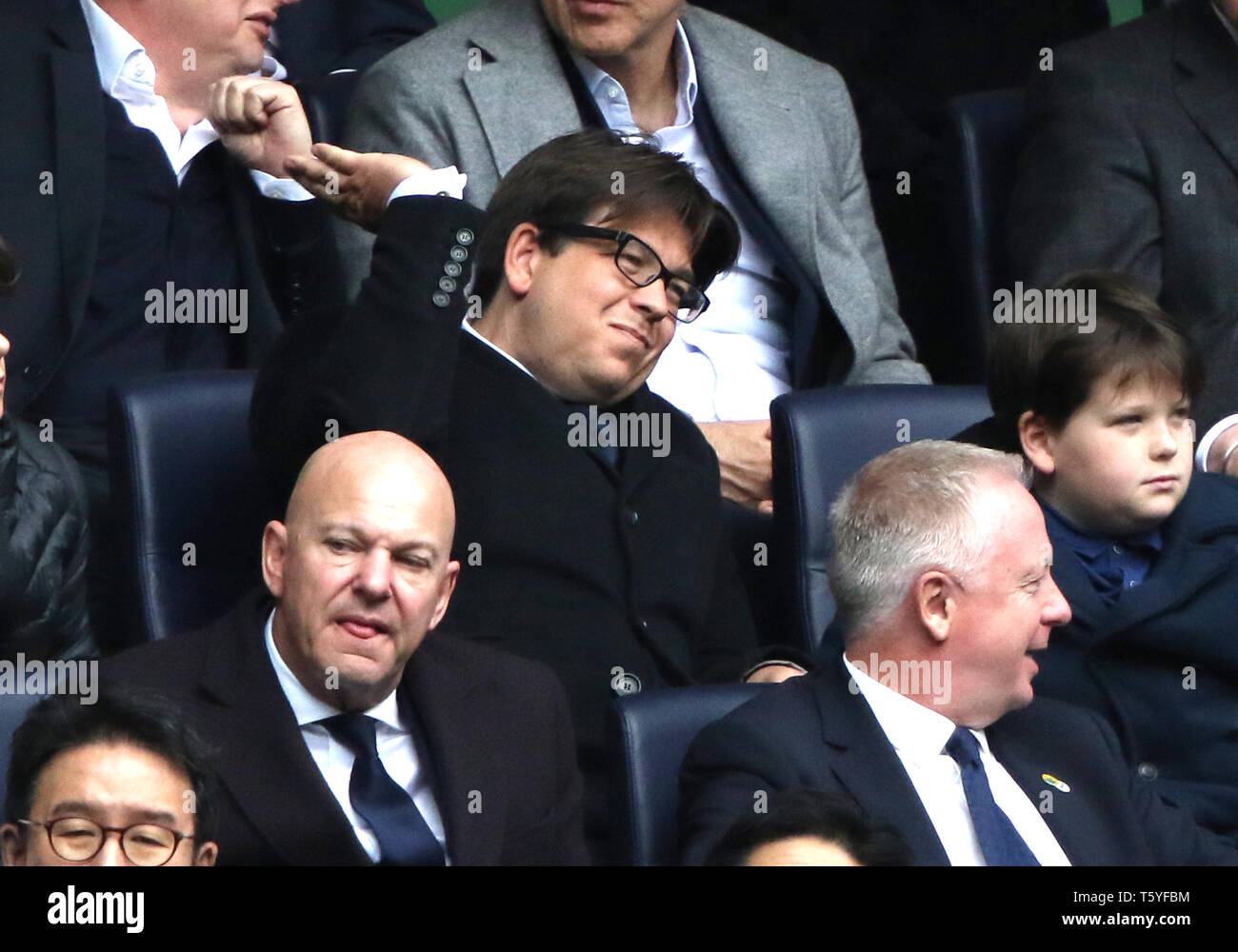 London, UK. 27th Apr 2019. Comedian Michael McIntyre shows his frustration at the Tottenham Hotspur v West Ham United English Premier League match, at The Tottenham Hotspur Stadium, London, UK on April 27, 2019. **Editorial use only, license required for commercial use. No use in betting, games or a single club/league/player publications** Credit: Paul Marriott/Alamy Live News - Stock Image