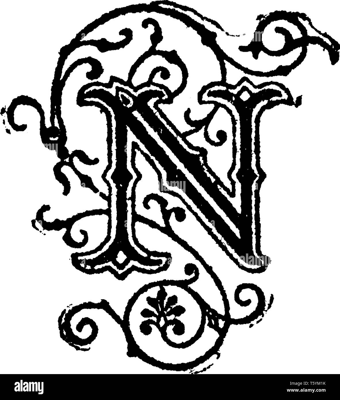Decorative Letter A.A Decorative Letter N Vintage Line Drawing Or Engraving