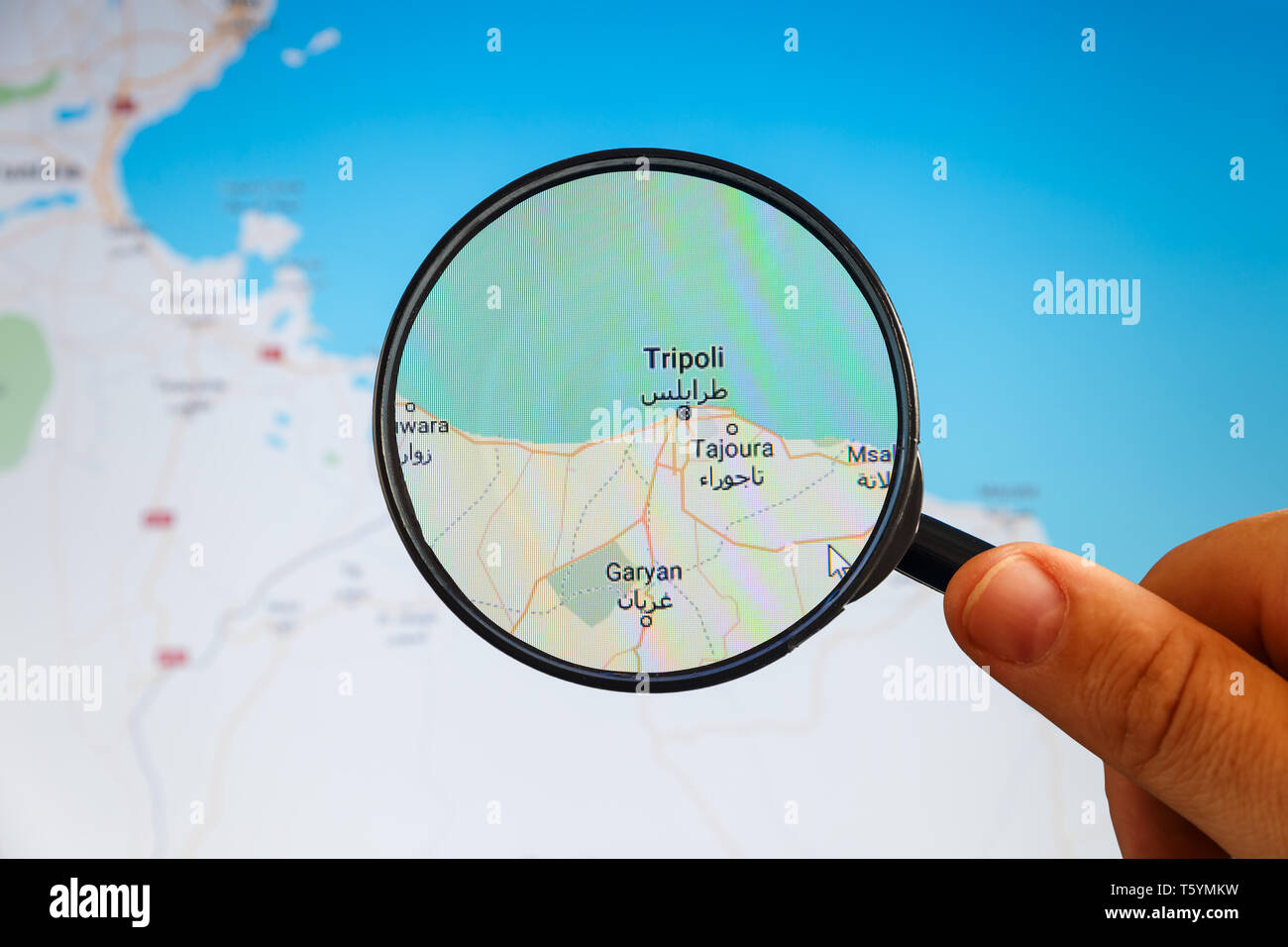Picture of: Tripoli Libya Political Map City Visualization Illustrative Concept On Display Screen Through Magnifying Glass In The Hand Stock Photo Alamy
