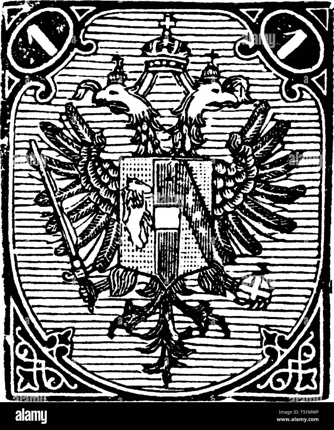 Bosnia 1 N Stamp in 1879 which designs feature the coat of arms and numeral tablets in the upper corners, vintage line drawing or engraving illustrati - Stock Image
