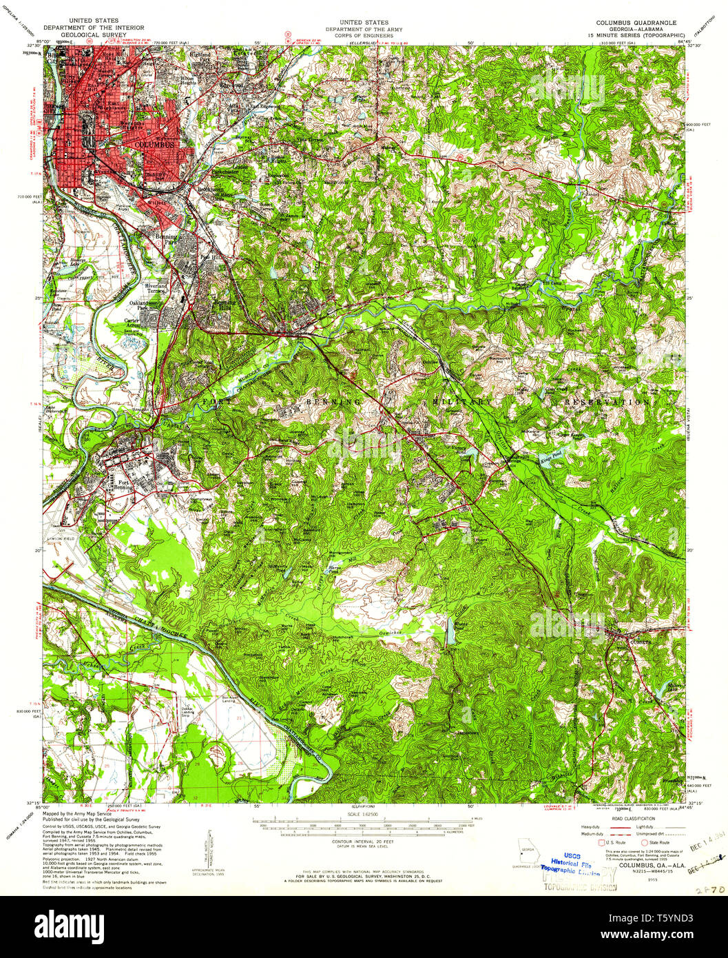 USGS TOPO Map Georgia GA Columbus 247402 1955 62500